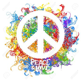 Abstract vector illustration Hippie Symbol over colorful background. Idea Peace, Freedom, Love, antiwar, Spirituality. Vector illustration for t-shirt print over